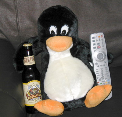 couch penguin, with beer