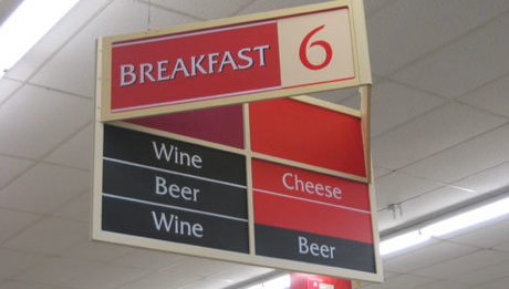 grocery store listing beer and wine as 'breakfast items'