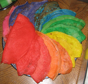 pancakes in a variety of artificial colors