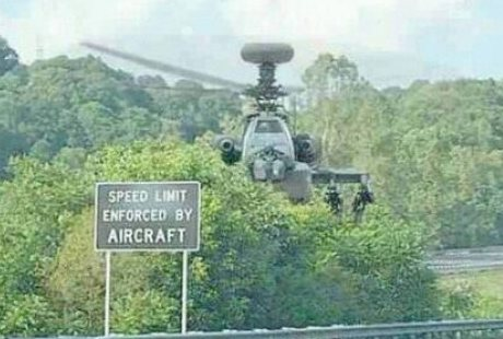 speed limit enforced by Apache helicopters