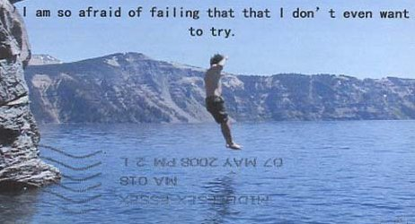 man jumping off rock, caption 'I'm so afraid of failing that I don't even want to try'