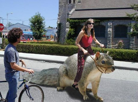 woman riding on giant squirrel