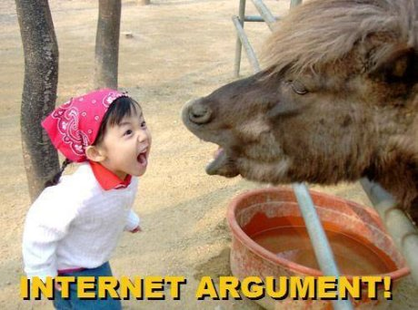 very young child yelling at cow, caption 'internet argument'