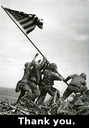 Iwo Jima, caption 'thank you'
