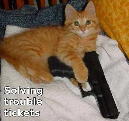 cat with 9mm, solving trouble tickets