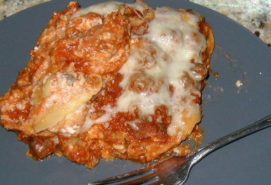 lasagna made partially with corn tortillas