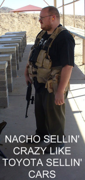 Teh Nacho wearing a tactical vest at the rifle range
