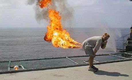 man apparently farting fire