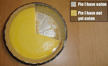 pie chart, made out of an actual pie