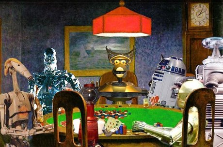 robots playing poker, C3P0, Crow, R2-D2, Tom Servo, and the T-800