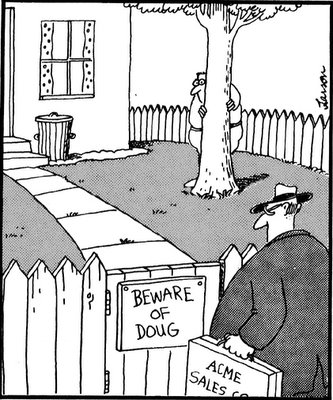 Far Side cartoon saying 'beware of Doug'