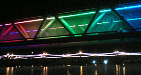 bridge in Tempe covered in colored lights