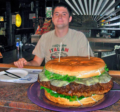man with giant burger
