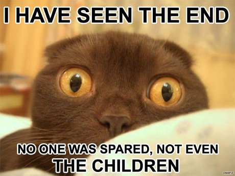 cat saying 'I have seen the end! No one was spared, not even the children!'