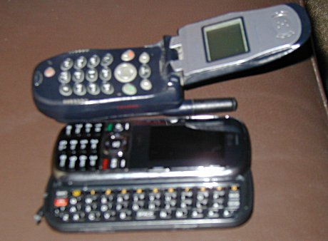 Motorola i60c (old) next to LG Rumor2 (new)
