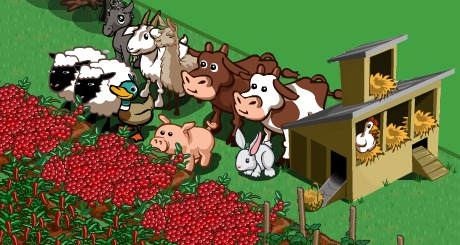 sheep, pig, llama, foal, cows, goat, duck, chickens in FarmVille