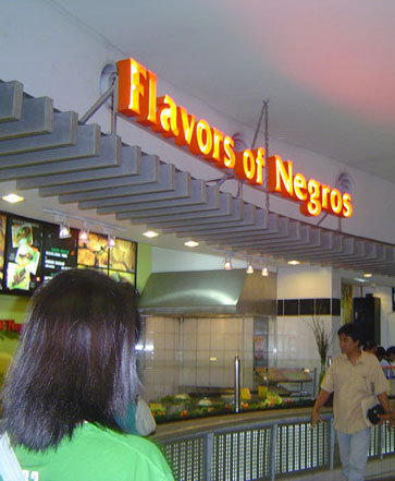 food court sign saying 'Flavors of Negros'