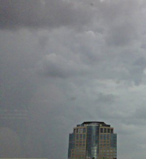 dark clouds over downtown Phoenix