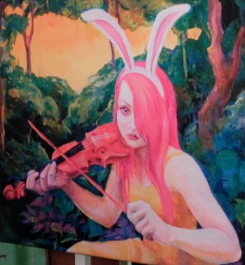 girl with bunny ears playing the violin