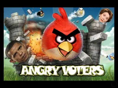 Angry Voters, showing some Angry Birds attacking politicians
