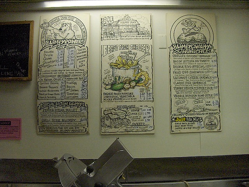 menu board at Krazy Jim's Blimpyburger in Ann Arbor