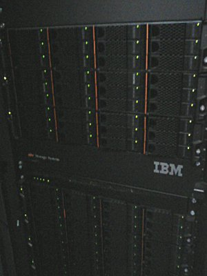 big IBM storage array cabinet with over 80T of disks in it