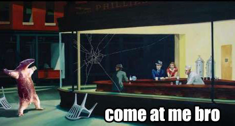 Parody of 'Nighthawks at the Diner' with an anteater saying 'Come at me bro'