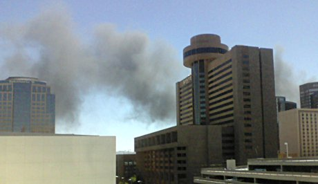 plume of smoke from the recycling plant fire near downtown Phoenix
