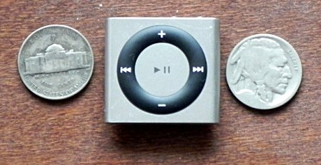 ipod shuffle, 1944 wartime nickel, very old and worn buffalo nickel