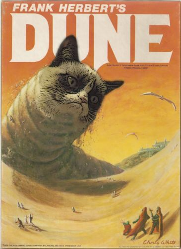 Frank Herbert's Dune with a sandworm with Grumpy Cat's face