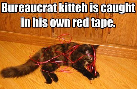 cat tangled in red ribbon, caption 'bureaucrat kitty is caught in own red tape'