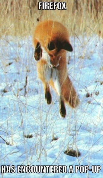fox jumping, caption 'firefox has encountered a pop-up'